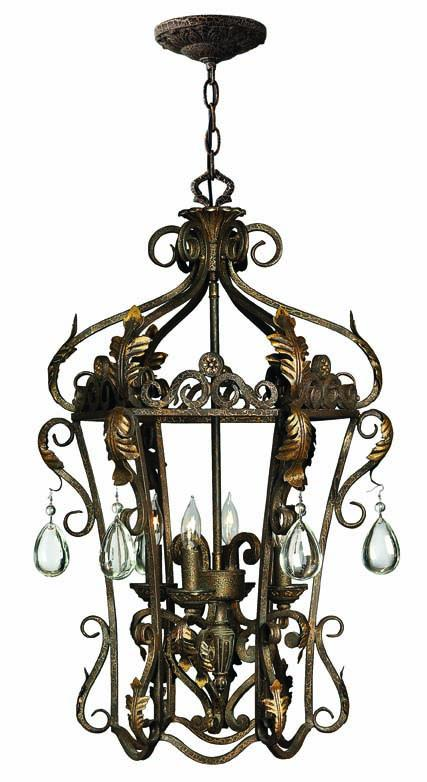 Four Light Bronze Open Frame Foyer Hall Fixture